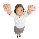 Happy jubilant you woman cheering Royalty Free Stock Photos