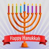 Happy judaic hanukkah concept background, cartoon style vector illustration