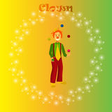 Happy juggling circus clown. Stock Photo