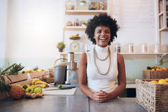 Happy juice bar owner Stock Images