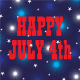 Happy july 4 on fireworks and stars Stock Photo