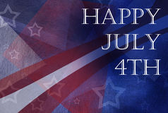 Happy July 4th background design with stripes and stars in red white and blue colors and abstract design Stock Photo