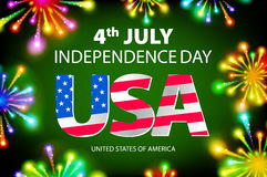 Happy july 4th firework green background independence day, vector. Art Royalty Free Stock Photo