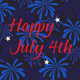 Happy july 4th on fireworks background. Pattern Royalty Free Stock Image