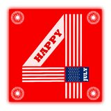 Happy July 4th. Greeting card for USA's Independence Day - July 4. Card can be used for wishing Independence Day vector illustration