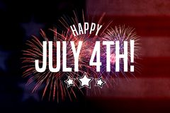 Happy July 4th Greeting with red and blue background. With fireworks Royalty Free Stock Photography