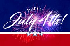 Happy July 4th Greeting with red and blue background. With fireworks Stock Photos