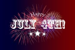 Happy July 4th Greeting with red and blue background. With fireworks Royalty Free Stock Photos