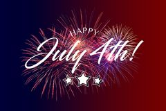 Happy July 4th Greeting with red and blue background. With fireworks Royalty Free Stock Image