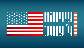Happy July 4 traditional lettering with US flag Stock Images