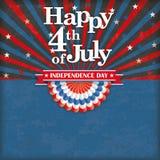Happy 4 July US Flag Bunting Retro Sun Royalty Free Stock Image