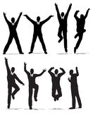 Happy jump businessman silhouette Stock Photos