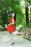 Happy jumping asian women Royalty Free Stock Photography