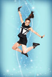 Happy jumping attractive woman Royalty Free Stock Image