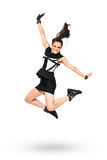 Happy jumping attractive woman Royalty Free Stock Photography