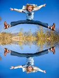 Happy jumping boy Royalty Free Stock Image