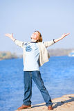 Happy jumping boy on beach Royalty Free Stock Photography