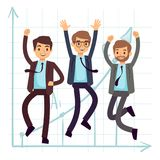 Happy jumping business man. Flat success in business concept design. Businessman success and happy, worker character and teamwork. Vector illustration Royalty Free Stock Photography