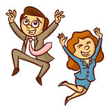 Happy Jumping Business People. Clipart Stock Image