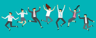 Happy jumping business people. Excited office team workers jumping at employees party, smiling professionals jump vector stock illustration