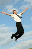 Happy jumping businessman Royalty Free Stock Photos