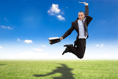Happy jumping businessman Royalty Free Stock Image