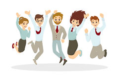 Happy jumping businessmen. Royalty Free Stock Photos