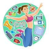 Happy jumping cartoon girl with fitness kit elements. Royalty Free Stock Photography