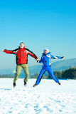 Happy jumping couple Stock Photography
