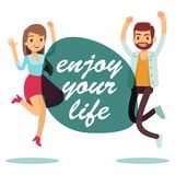 Happy jumping couple stock illustration