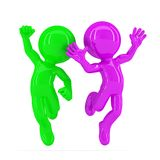 Happy jumping couple. Isolated. Contains clipping path Royalty Free Stock Photography