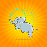 Happy jumping elephant with spray of water on colorful yellow and orange background. Vector illustration. Vector icon. Royalty Free Stock Photography