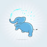 Happy jumping elephant with spray of water. Vector format. Vector icon. Logo template. Royalty Free Stock Photo