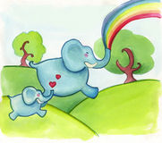 Happy jumping elephants. Two happy jumping elephants on green hill. Watercolors Stock Photo