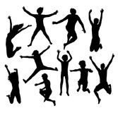 Happy Jumping Family and friend Silhouette. Illustration art vector design Stock Photography
