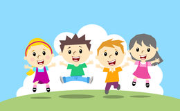 Happy jumping four kids Stock Photo