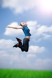 The happy jumping girl Royalty Free Stock Photos