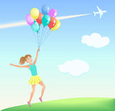 Happy jumping girl with colorful balloons on the lawn. Background of blue sky with white clouds, airliner and trail. Vector illustration Stock Photo