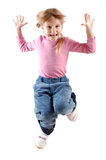 Happy jumping girl isolated over white Stock Photos