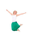 Happy jumping girl. Isolated on white background Royalty Free Stock Photography