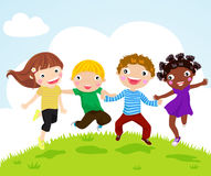 Happy jumping girls and boys. Illustration art Stock Photos