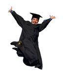 Happy jumping graduate isolated. Young smiley graduate student in gown jumping with open arms Royalty Free Stock Photography