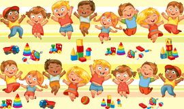 Free Happy Jumping Kids Holding Hands Royalty Free Stock Images - 36281999