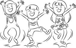 Happy jumping kids Royalty Free Stock Images