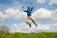 Happy jumping man Stock Photography