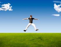 Happy jumping man royalty free stock photo
