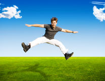 Happy jumping man Stock Image