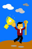 Happy Jumping Man, winner, Success to achieve his goal Royalty Free Stock Photo