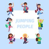 Happy Young Jumping People Banner Illustration Royalty Free Stock Images
