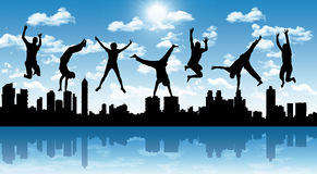 Happy jumping people with a city silhouette. Silhouettes of young happy people jumping a big city panoramic silhouette on a blue sky background Royalty Free Stock Photography